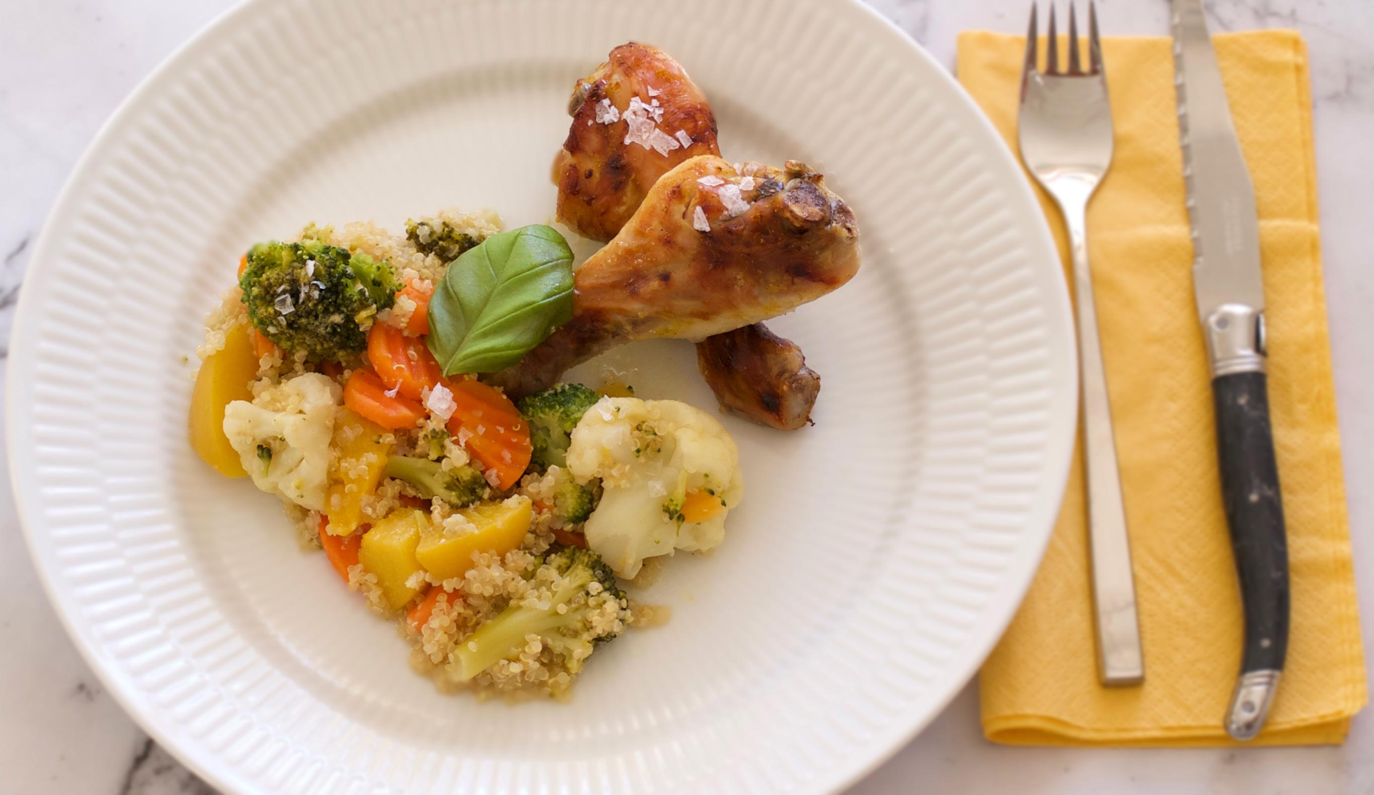 Kyllingelår på grønsager