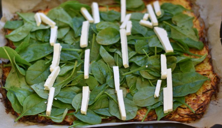 Rösti med spinat og feta