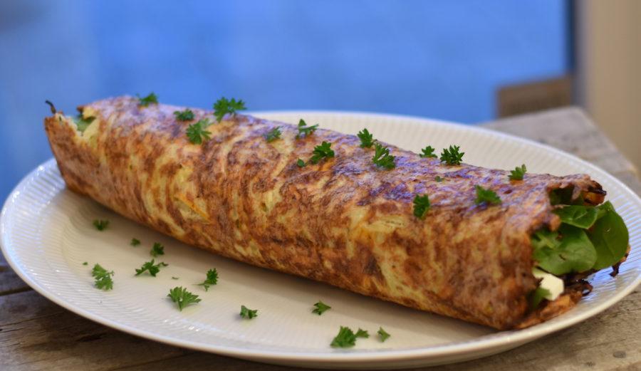 Rösti med spinat og feta i rulle