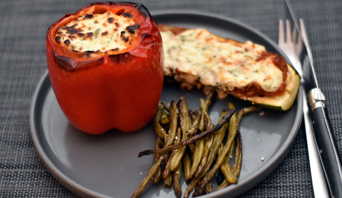 Fyldte grønsager med ricottatopping_bagt