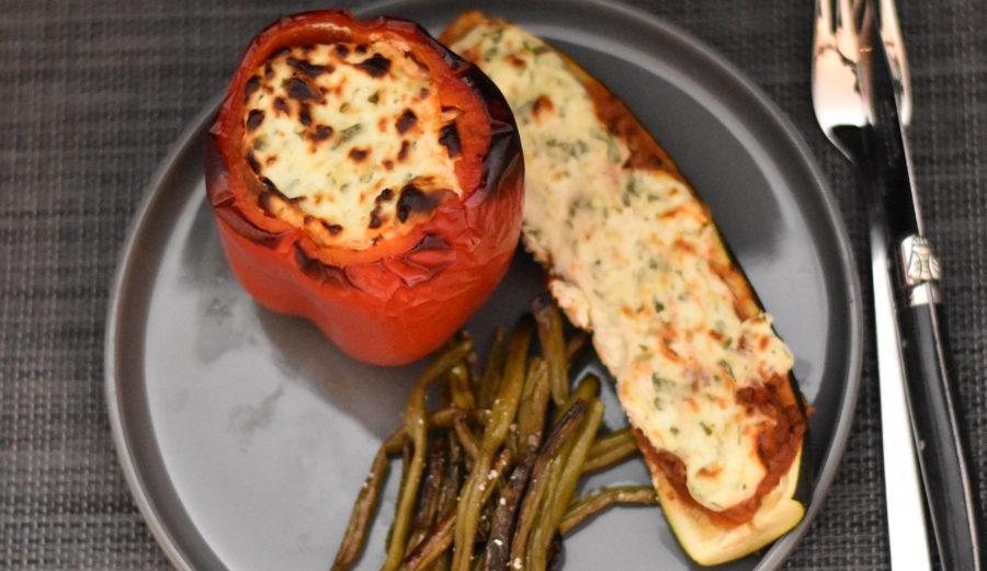Fyldte grønsager med ricottatopping