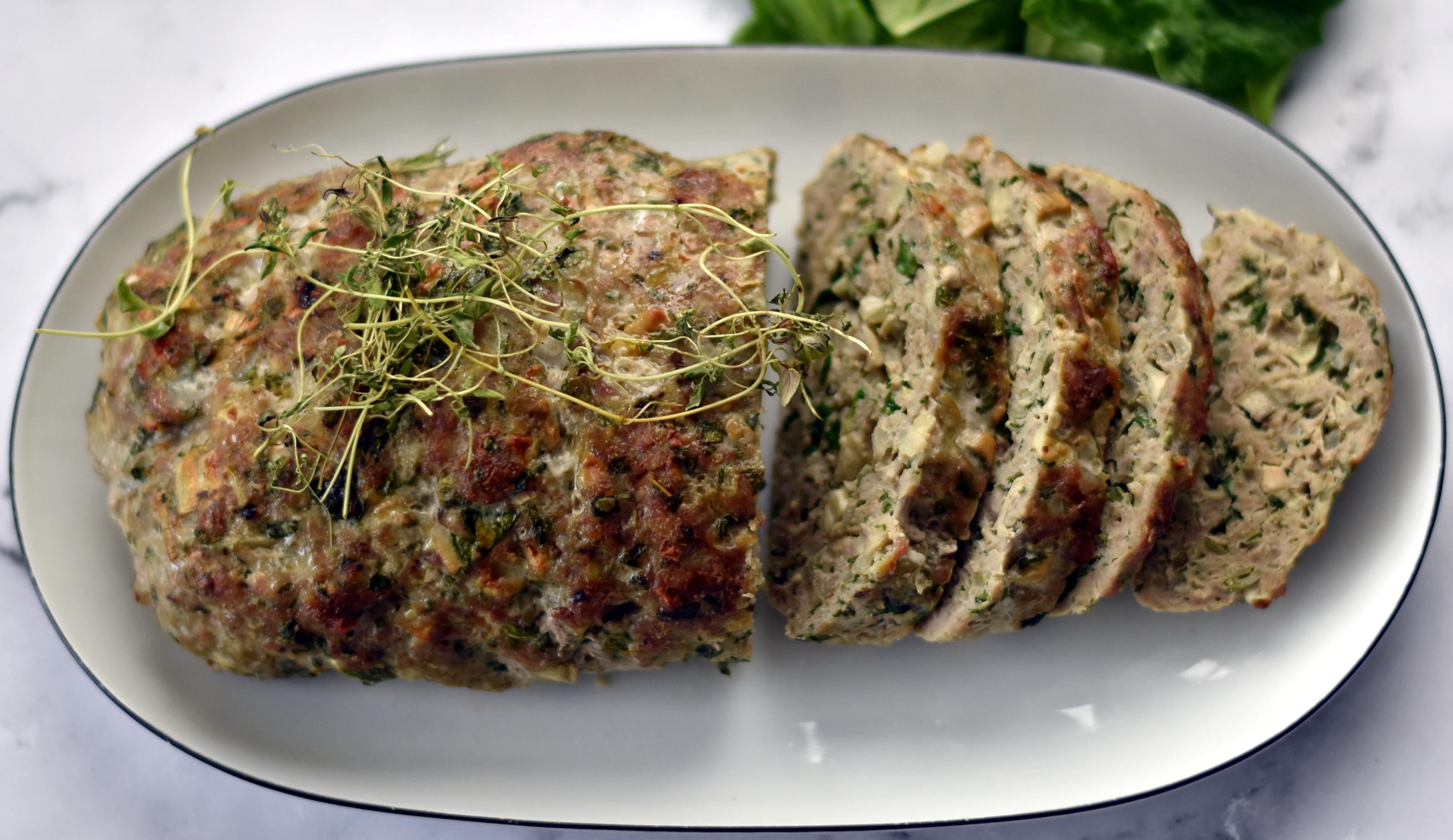 Græsk farsbrød med champignon og timian.