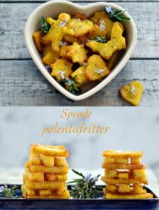 De sprøde polentafritter kan enten skæres i stave eller udstikkes i sjove former