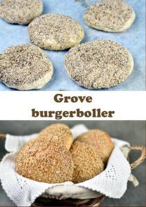 Grove burgerboller med sesamtopping