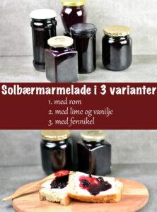 Solbærmarmelade med rom, med lime og vanilje eller med fennikel. 3 forskellige marmelader af skønne solbær
