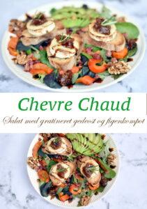 Salat med gratineret gedeost og figenmarmelade. Server den som forret eller til frokost.