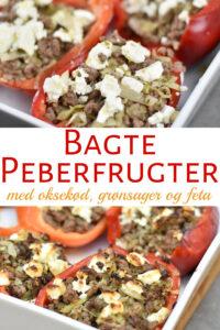Bagte peberfrugter med fyld af oksekød og grønsager