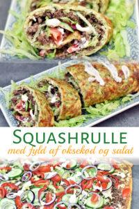 Squashrulle med fyld af oksekød og salat