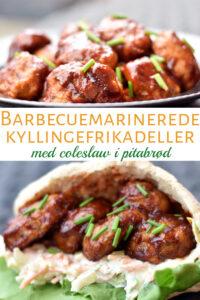 Kyllingefrikadeller i barbecue og pita