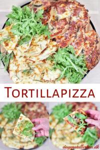 Tortillapizza med skinke og med kartofler